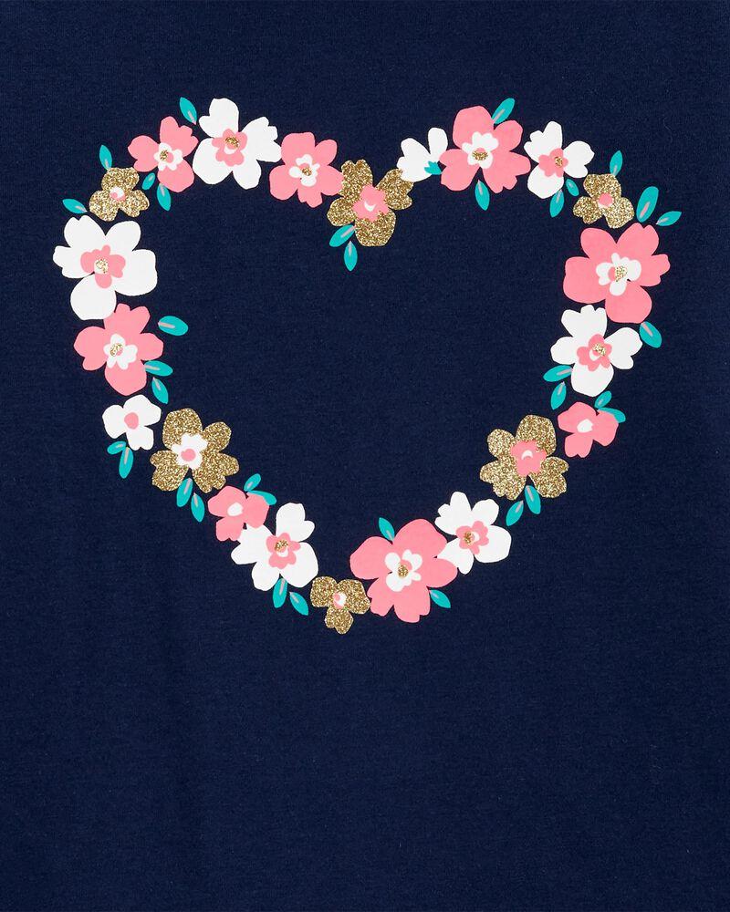 Haut en jersey à cœur fleuri, , hi-res