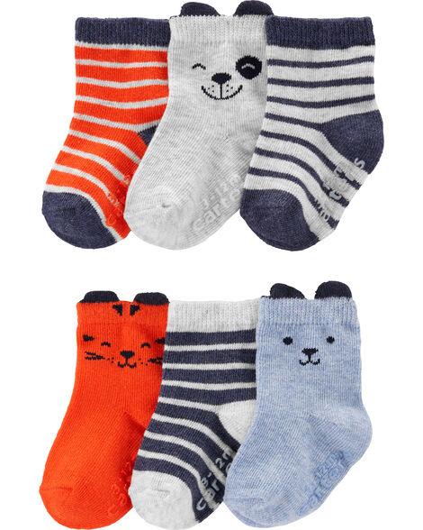 6 paires de chaussettes mi-mollet à animaux