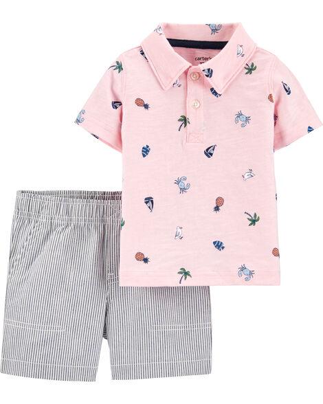 2-Piece Beach Polo & Striped Short Set