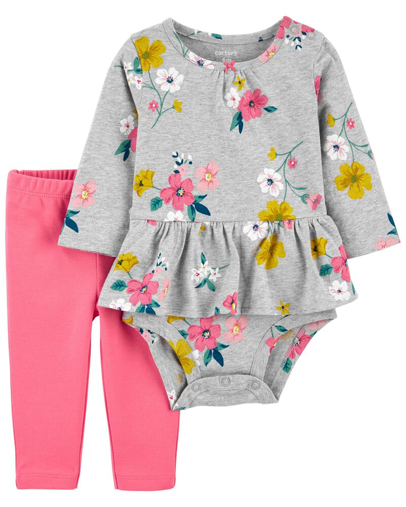 2-Piece Peplum Bodysuit Pant Set, , hi-res