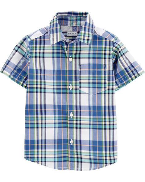 Plaid Poplin Button-Front Shirt