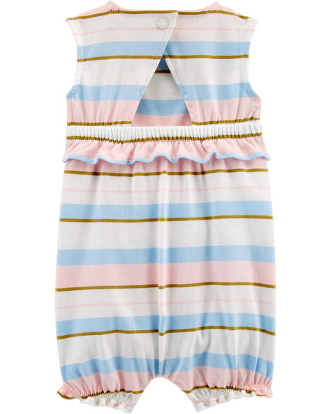 Striped Ruffle Jersey Romper
