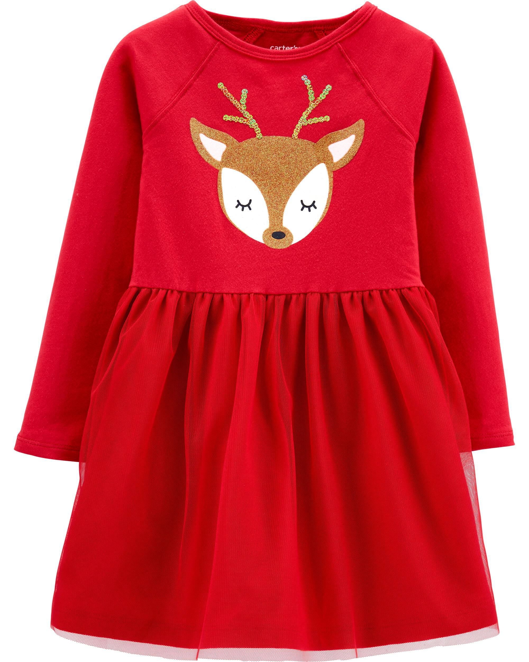 Toddler Girls 3T Red with lots of sparkle  Christmas Dress OSHKOSH