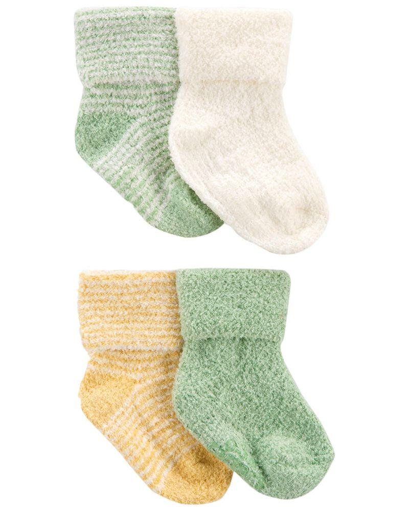Emballage de 4 paires de chaussons à revers pliés, , hi-res