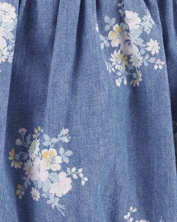 Cache-couche en chambray fleuri