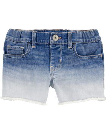 Dip-Dye Stretch Denim Shorts