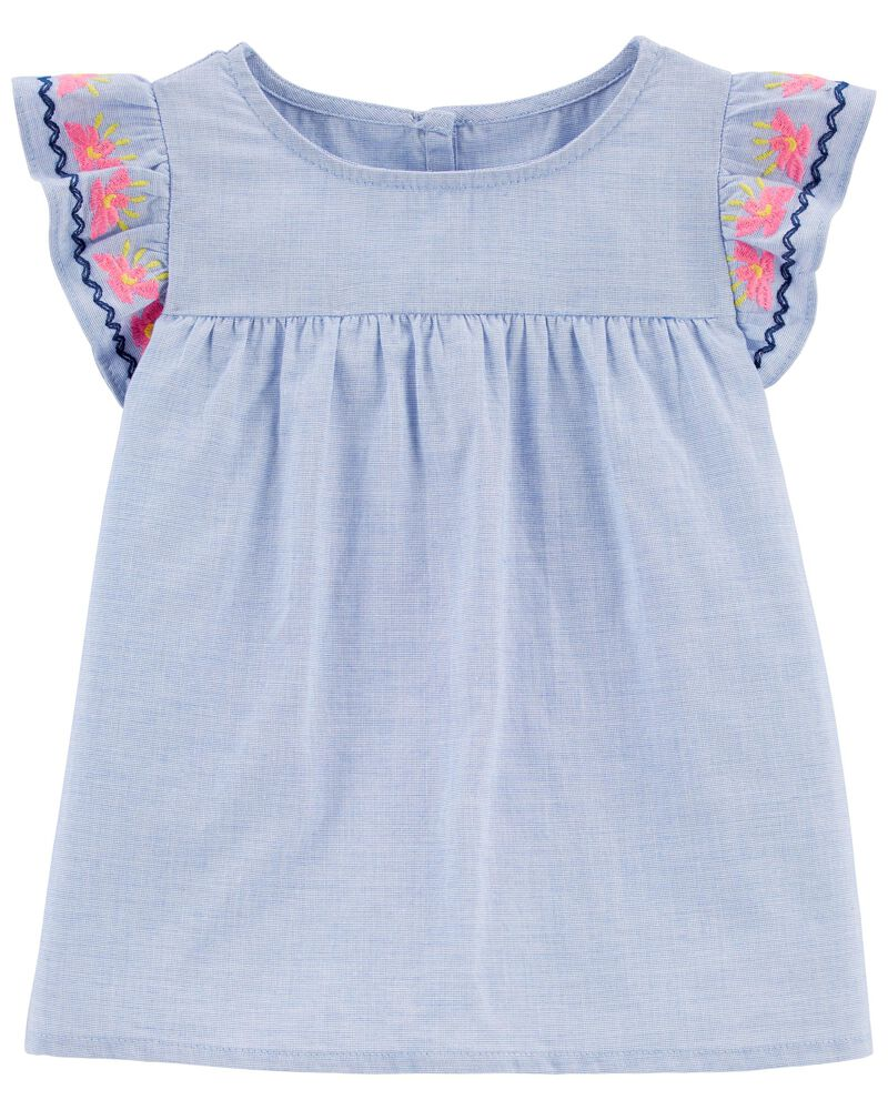 Embroidered Chambray Ruffle Top, , hi-res