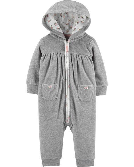 Hooded Zip-Up Fleece Jumpsuit