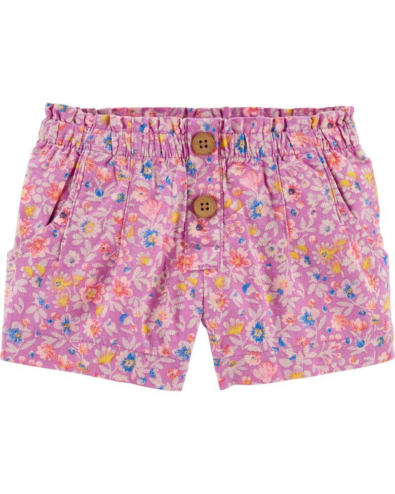 Floral Linen Shorts, , hi-res
