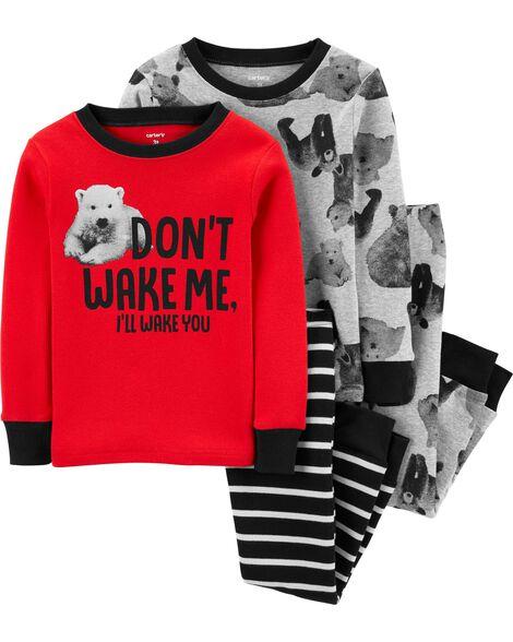 Pyjamas 4 pièces en coton ajusté ours polaire