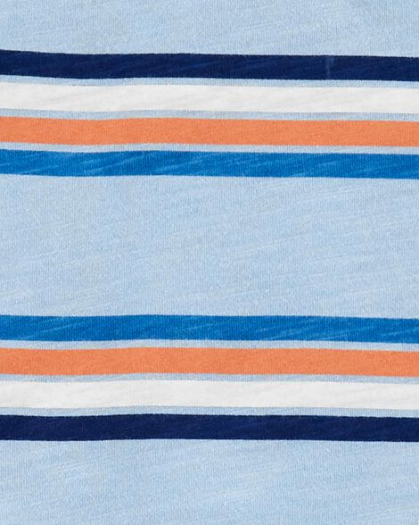 2-Piece Striped Slub Henley & Poplin Short Set