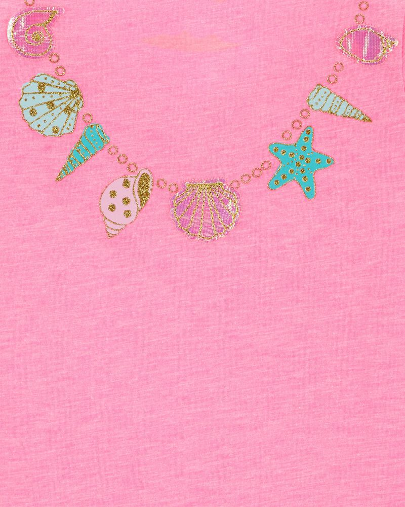 Glitter Necklace Bow Back Tee, , hi-res