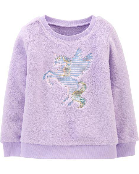 Sequin Unicorn Fuzzy Sweater