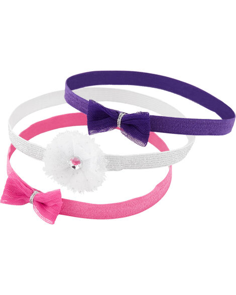 3-Pack Tulle Bow Headwraps