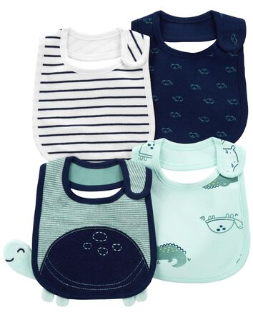 4-Pack Turtle Teething Bibs