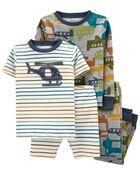 Pyjama 4 pièces en coton ajusté motif hélicoptère, , hi-res