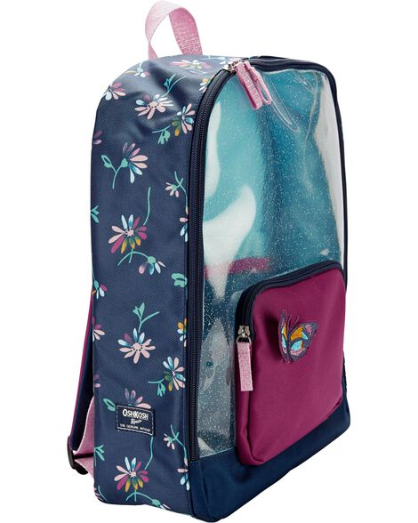Floral Clear Glitter Backpack
