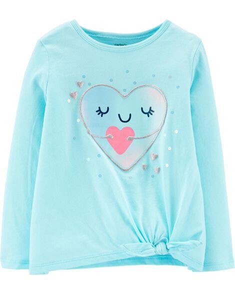 T-shirt en jersey à cœur pailleté et nœud devant