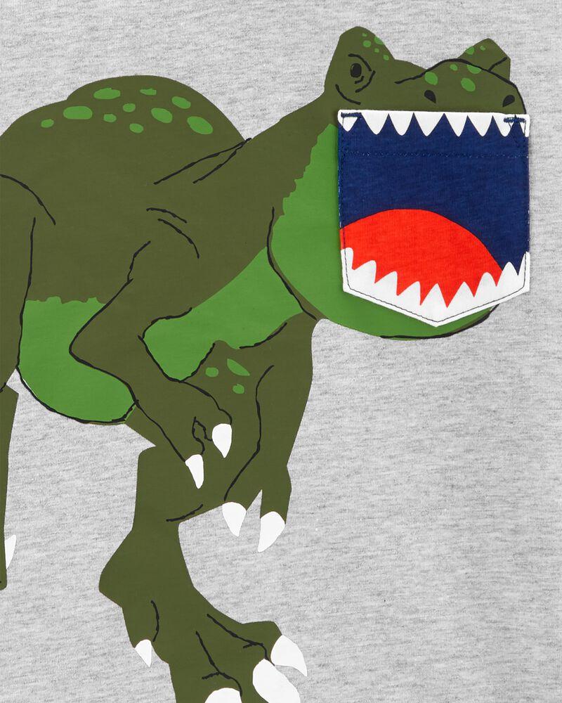 Ensemble 2 pièces t-shirt à poche et dinosaure et short, , hi-res