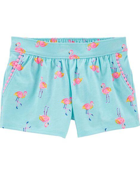 Flamingo Pom Pom Shorts