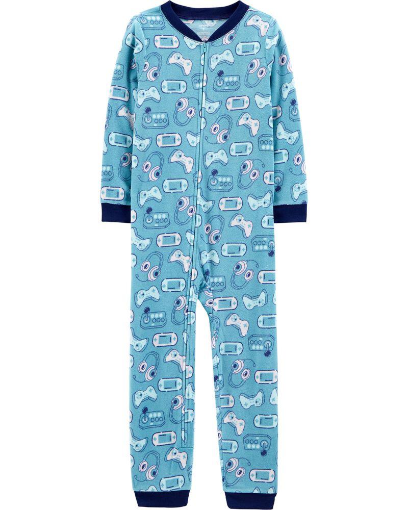 Pyjama 1 pièce en molleton à pieds avec jeux vidéo, , hi-res