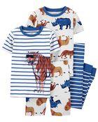 4-Piece Tiger 100% Snug Fit Cotton PJs, , hi-res
