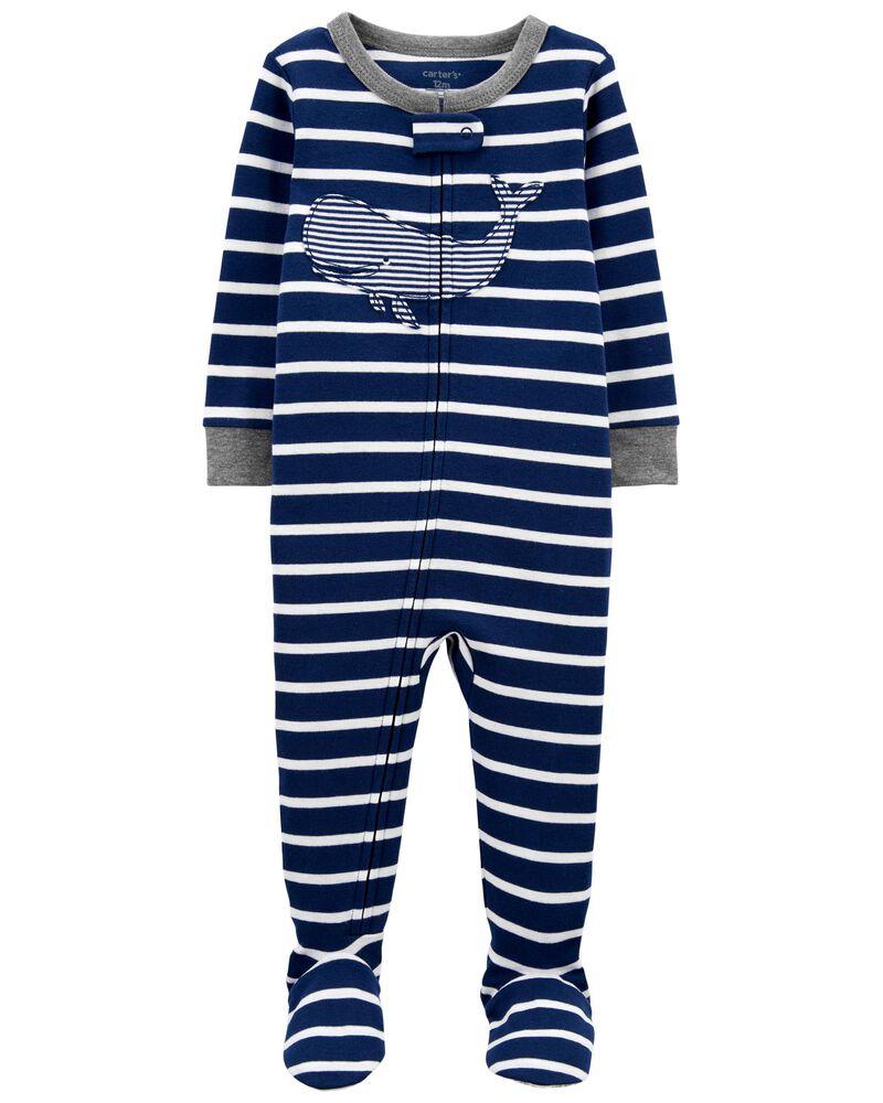 Pyjama 1 pièce à pieds en coton ajusté à motif baleine, , hi-res
