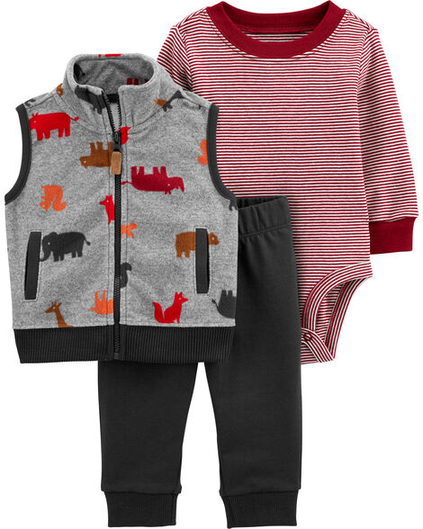3-Piece Dinosaur Little Vest Set