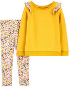 2-Piece Flutter French Terry Top & Floral Legging Set, , hi-res