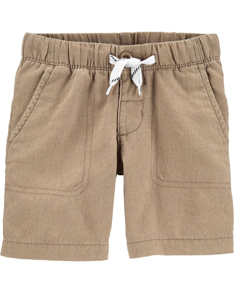 Pull-On Linen Shorts, , hi-res