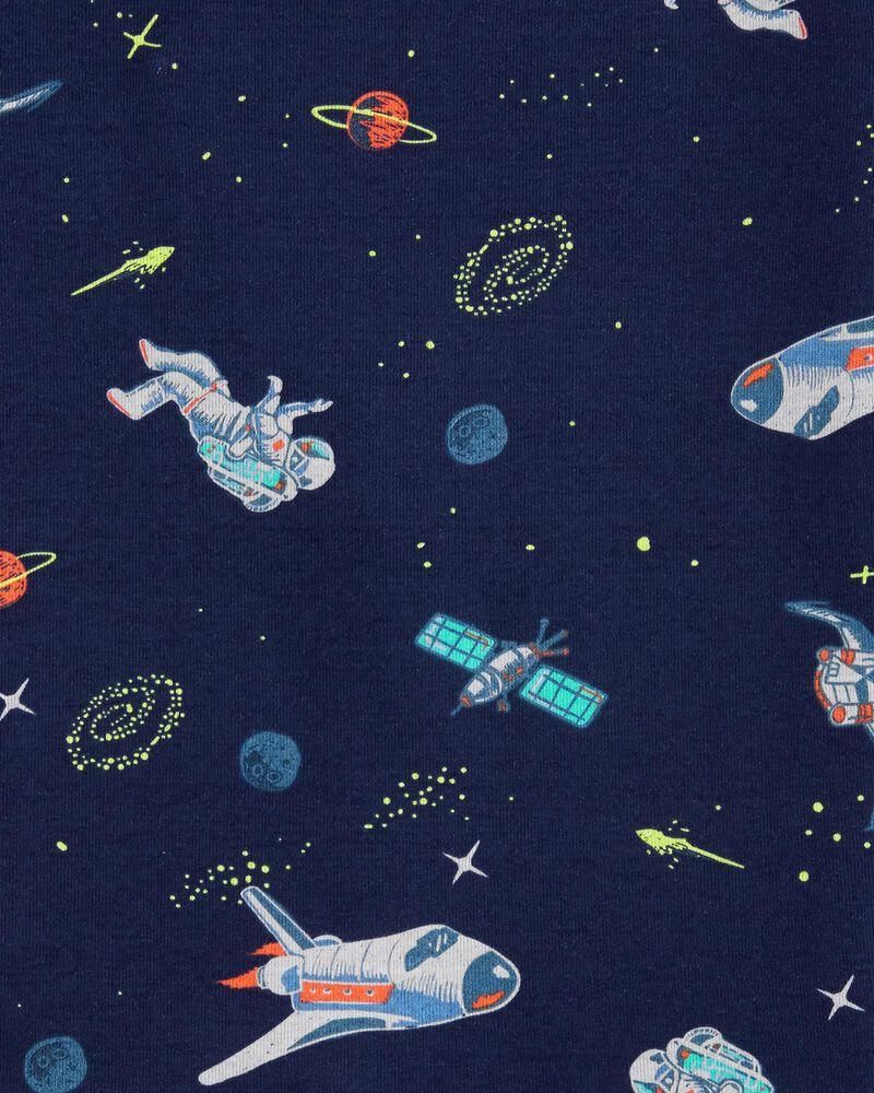 Pyjama 4 pièces en coton ajusté à motif astronaute, , hi-res