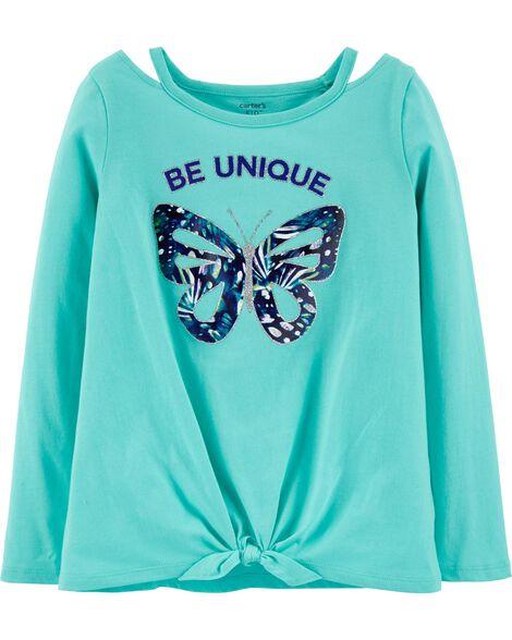 T-shirt en jersey à nœud devant et papillon