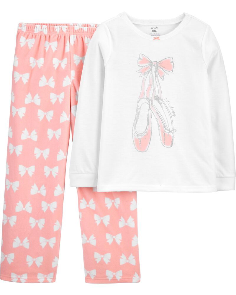 Pyjama 2 pièces en molleton motif ballet, , hi-res