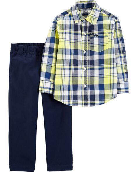 Ensemble 2 pièces chemise boutonnée à motif écossais et pantalon en coutil