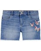 Butterfly Stretch Denim Shorts, , hi-res