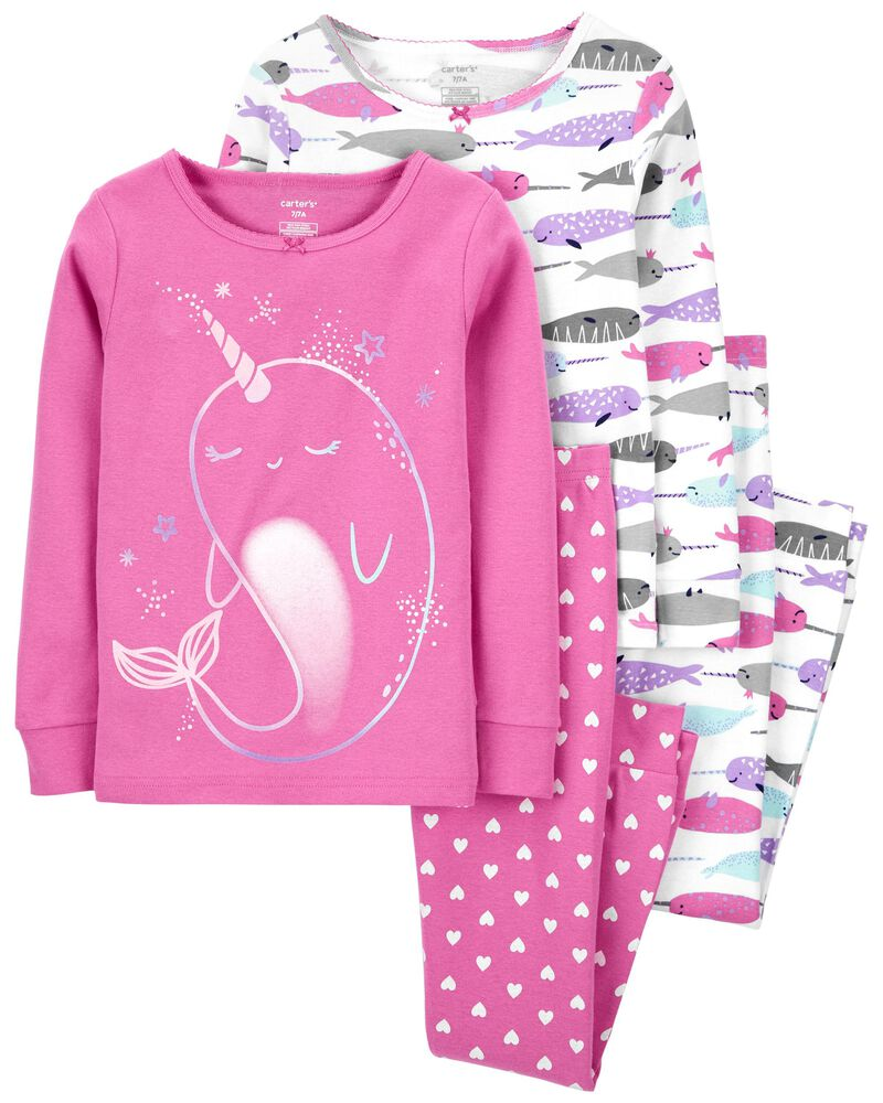 4-Piece Narwhal 100% Snug Fit Cotton PJs, , hi-res