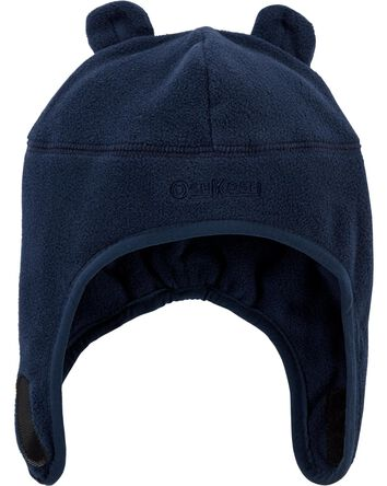 Fleece Hat With Ears & Chinstrap