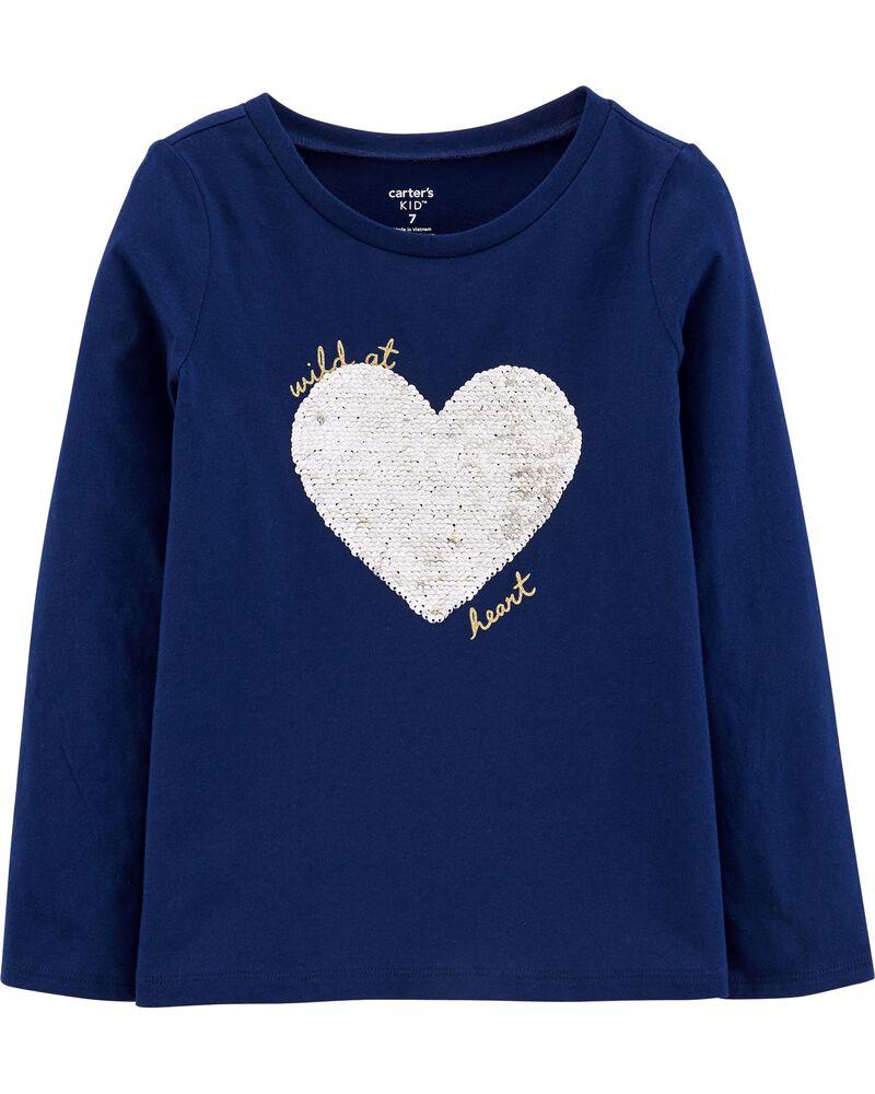 T-shirt en jersey avec cœur à paillettes réversibles, , hi-res