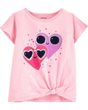 Glitter Hearts Tie-Front Jersey Tee