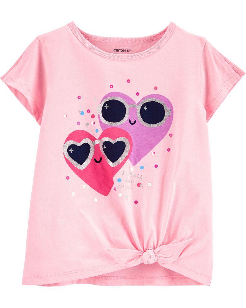 Glitter Hearts Tie-Front Jersey Tee, , hi-res
