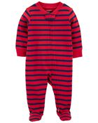 Striped 2-Way Zip Cotton Footed Sleep & Play, , hi-res