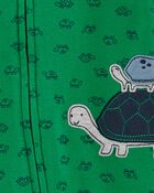 Grenouillère en coton pour dormir et jouer avec glissière 2 sens et tortue, , hi-res