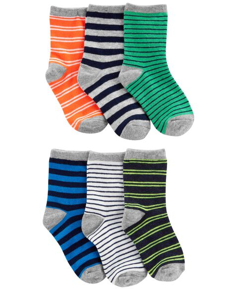 6-Pack Striped Crew Socks