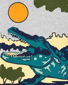 T-shirt en jersey flammé à imprimé alligator, , hi-res