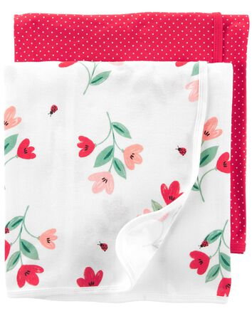 2-Pack Floral Receiving Blankets
