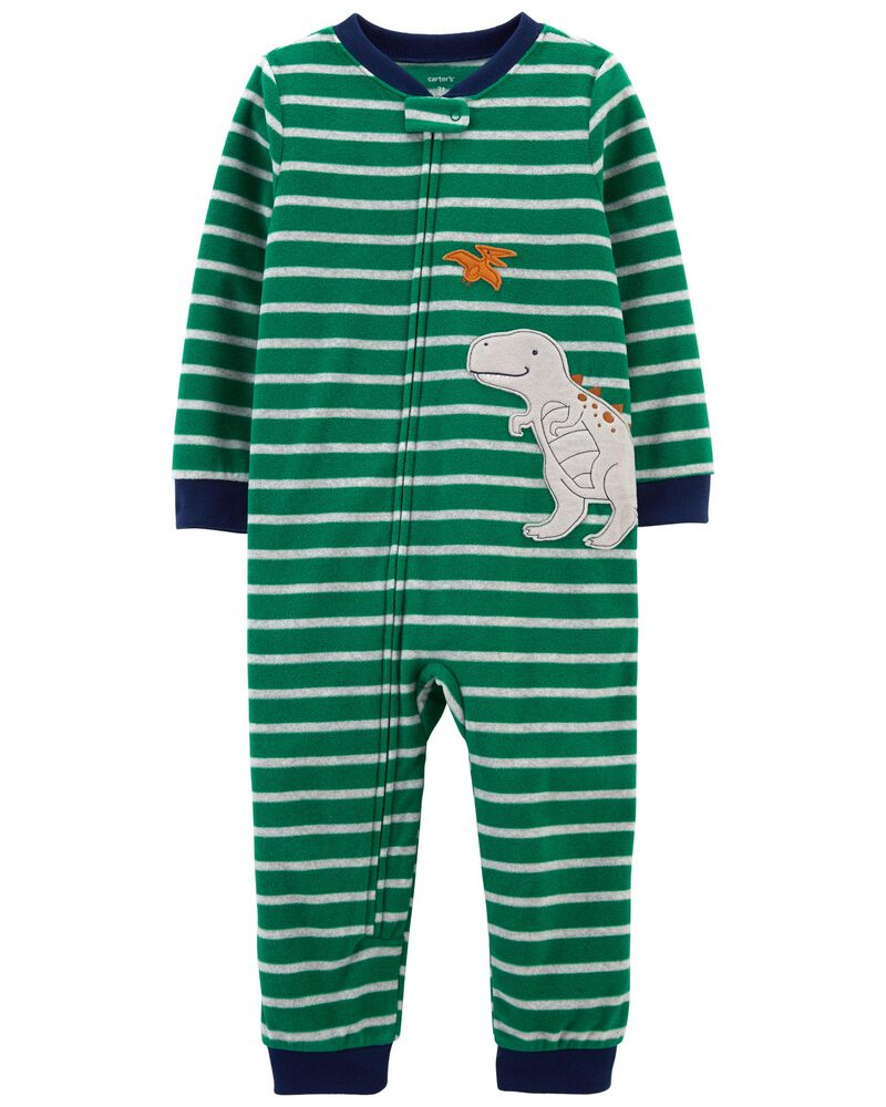 1-Piece Dinosaur Fleece Footless PJs, , hi-res