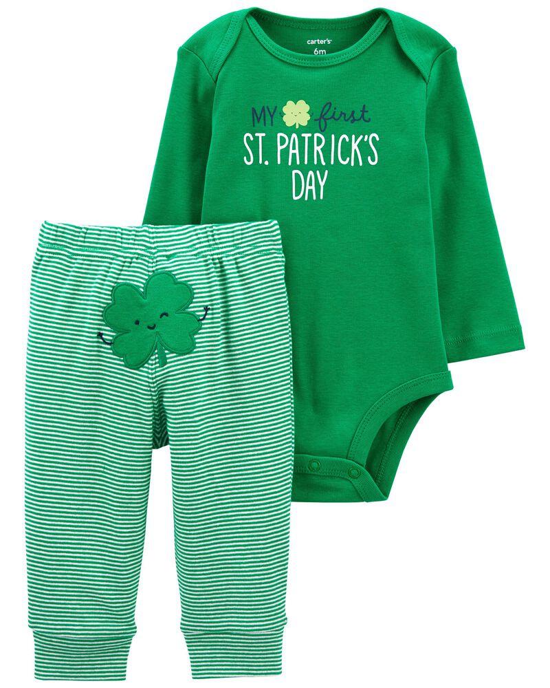 Ensemble 2 pièces cache-couche et pantalon St-Patrick, , hi-res