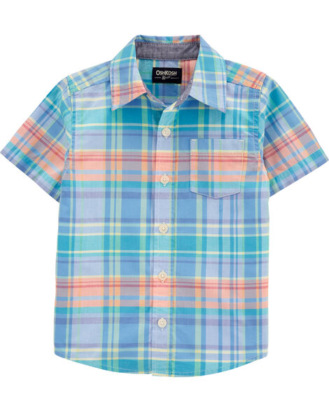 Plaid Short Sleeve Button-Front Shirt