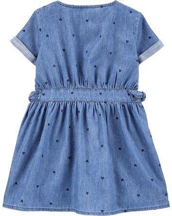 Indigo Heart Print Shirt Dress