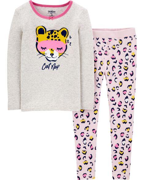 Pyjama 2 pièces ajusté à motif de léopard